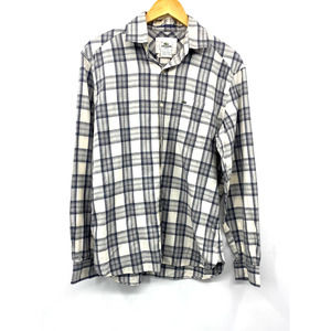 Lacoste Men's Long Sleeve Casual Button Down Plaid Slim Fit Gray Shirt Size 40